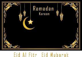 cartão Ramadan Kareem, fundo de estilo de arte islâmica com moldura vetor