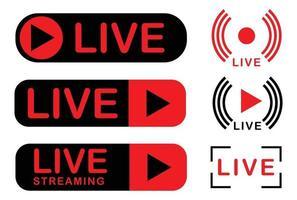 conjunto de ícones de transmissão ao vivo. com duas cores, preto e vermelho vetor
