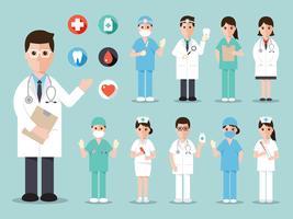 Personagens médicos e hospitalares vetor