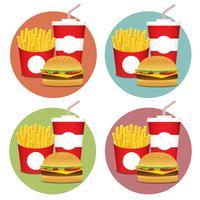 Conjunto de fast food 3 vetor
