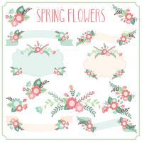 Quadros de flores de primavera vetor