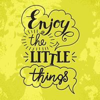 Aprecie as pequenas coisas mão lettering.