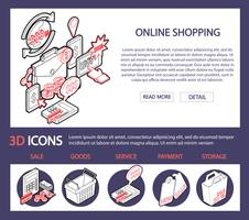 ilustração do conceito de conjunto de compras on-line de informação gráfica