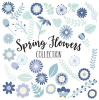 Coleção de flores de primavera azul