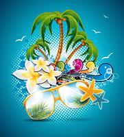 Design de folheto de férias de verão vetor