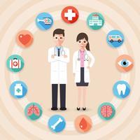 Médicos do sexo masculino e feminino