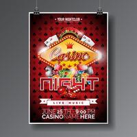 Vector design de festa Flyer em um tema de Casino com chips e cartões de jogo