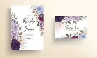 lindo design floral de cartão de convite de casamento vetor