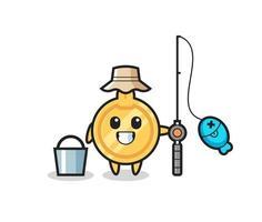 personagem mascote importante como pescador vetor