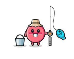 personagem mascote do comprimido de remédio como pescador vetor