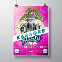 Vector Flyer ilustração sobre um tema de festa de karaoke de verão com microfones