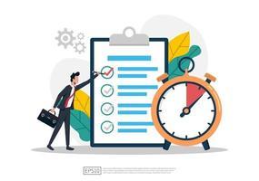 empresário preencha a lista de verificação com ilustração do símbolo do relógio. vetor