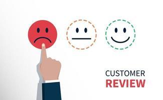 crítica ou feedback negativo, a mão do cliente escolheu o ícone de rosto triste vetor