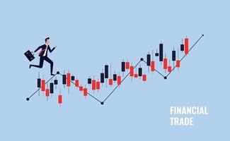 conceito de negociação financeira, ilustração vetorial de mercado de ações vetor