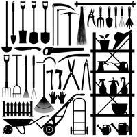 Silhueta de ferramentas de jardinagem. vetor