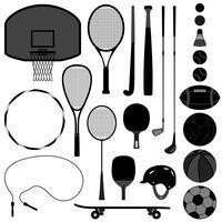 Conjunto de equipamentos de esporte.