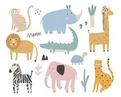 animais e plantas africanas fofos conjunto simples infantil colorido vetor