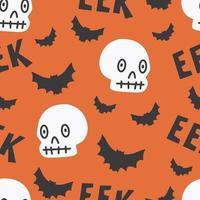 padrão sem emenda de halloween para design de morcego de caveira de símbolos de halloween vetor