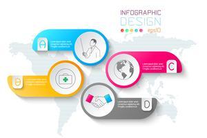 Negócios rótulos forma infográfico círculos bar. vetor