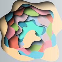 Corte de papel mergulhado abstrato com muitas cores.