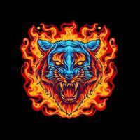 tigre em chamas vetor