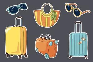 conjunto de adesivos de bagagem de viagem desenhado à mão vetor