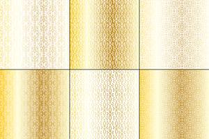 ouro metálico e padrões de ferro forjado branco vetor
