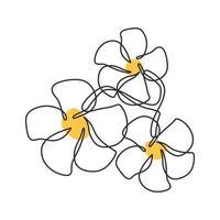 desenho de uma linha de flor de plumeria design minimalista amarelo vetor