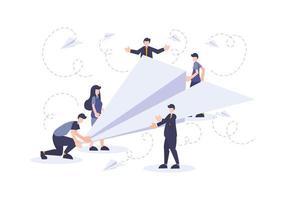ilustração plana de negócios de inicialização com pessoas e avião de papel vetor
