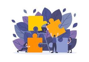 ilustração de plano de negócios com pessoas trabalham com grandes elementos de quebra-cabeça. vetor