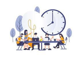 conceito de negócio de trabalhadores de inicialização criativa discutindo e brainstorming vetor