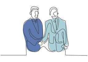 um desenho de linha de acordo mútuo diplomático vetor
