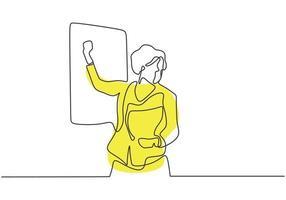 desenho contínuo de uma linha do professor, explicação e apresentação em aula vetor