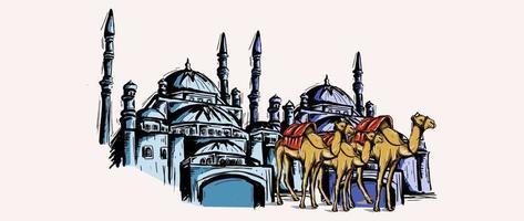 mesquita e camelo esboçar desenho com aquarela vintage mão desenhada. vetor