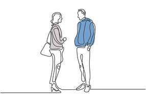 desenho de linha contínua de dois trabalhadores conversando e discutindo vetor