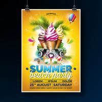 Design de panfleto de festa de praia verão com sorvete e alto-falantes