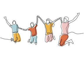 desenho de linha contínua de um grupo de amigos que gosta de pular de alegria vetor