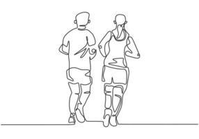 contínua uma linha desenhando pessoas correndo. desportista e desportista vetor