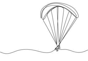 desenho de linha contínua do jogo de esporte de pára-quedas do céu. vetor