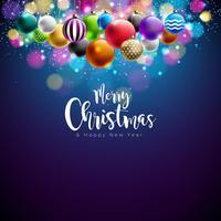 Ilustração de feliz Natal com bolas ornamentais multicoloridas