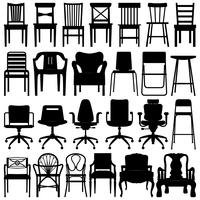 Conjunto de silhueta preta de cadeira. vetor