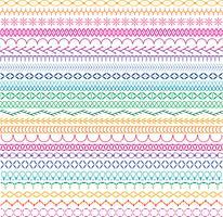 padrões de borda de bordado vetor