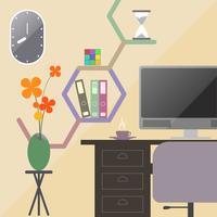 Sala de escritório em design plano