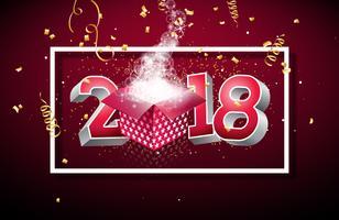 Feliz ano novo 2018 ilustração com caixa de presente aberta