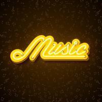 """""""Music"""" ilustração com sinal de néon vetor"""