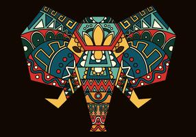 Cor boêmio, pintado, elefante, vetorial, ilustração vetor