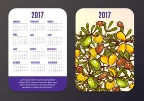Calendário de bolso com produtos ecológicos, frutas e ramos Argan. vetor