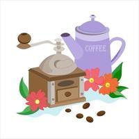 moedor de café e chaleira. cafeteira e moinho, grãos. vetor