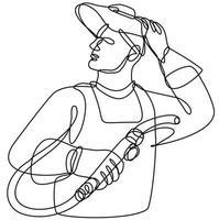 soldador com viseira segurando desenho de linha contínua da tocha de soldagem vetor