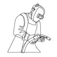 soldador mig com viseira segurando desenho de linha contínua da tocha de soldagem vetor